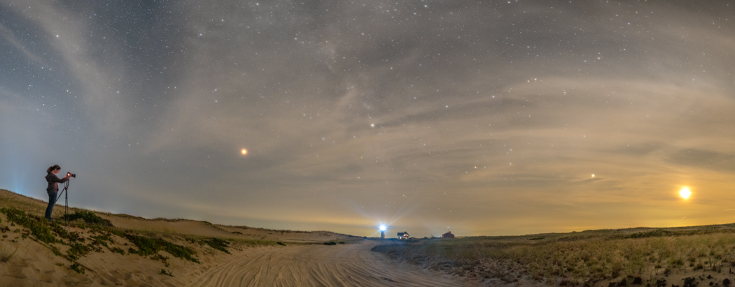 Mars and the moon over Race Point Lighthouse